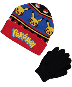 "Pokemon ""Strategy Lines"" Beanie & Gloves Set - CookiesKids.com"