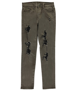 "AQ Big Girls' ""Contrast Rips"" Skinny Pants (Sizes 7 – 16) - CookiesKids.com"