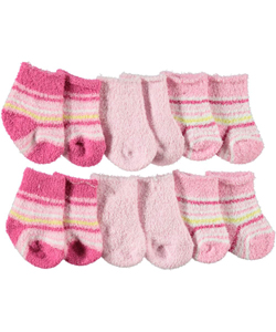 "Big Oshi Baby Girls' ""Plush Stripe"" 6-Pack Socks - CookiesKids.com"