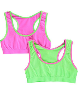 "Sweet Princess Big Girls' ""Contrast Edge"" 2-Pack Sports Bras (Sizes 7 – 16) - CookiesKids.com"
