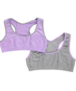 "Sweet Princess Big Girls' ""Contrast Trim"" 2-Pack Sports Bras (Sizes 7 - 16) - CookiesKids.com"