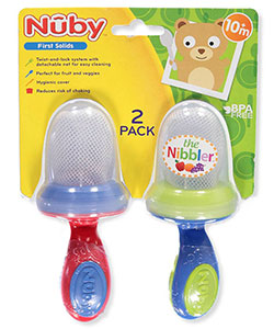 Nuby Nibbler 2-Pack Vegetable Feeders with Travel Covers - CookiesKids.com