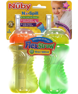 Nuby 2-Pack Flex Straw Sipper Bottles (10 oz.) - CookiesKids.com