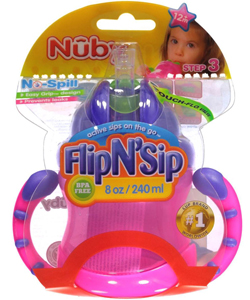 Nuby No-Spill Flip N' Sip Bottle (8 oz.) - CookiesKids.com