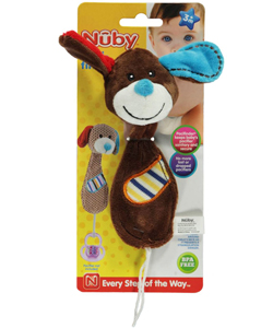 "Nuby Pacifinder ""Stitched Pup"" Pacifier Clip - CookiesKids.com"