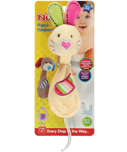 "Nuby Pacifinder ""Heart-Nosed Bunny"" Pacifier Clip - CookiesKids.com"
