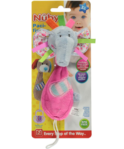 "Nuby Pacifinder ""Elephant Ribbons"" Pacifier Clip - CookiesKids.com"