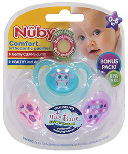 Nuby Comfort Orthodontic Pacifiers 3-Pack - CookiesKids.com