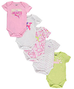 "Puma Baby Girls' ""Leaping Hearts"" 5-Pack Bodysuits - CookiesKids.com"