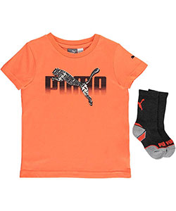 "Puma Little Boys' Toddler ""Treaded"" T-Shirt & Socks Set (Sizes 2T – 4T) - CookiesKids.com"