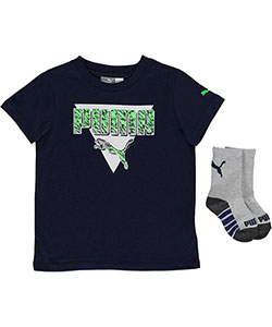 "Puma Little Boys' Toddler ""3 Star"" T-Shirt & Socks Set (Sizes 2T – 4T) - CookiesKids.com"