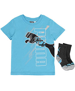 "Puma Little Boys' ""High Jump"" T-Shirt & Socks Set (Sizes 4 – 7) - CookiesKids.com"