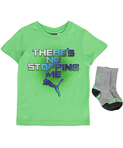 "Puma Little Boys' ""No Stopping Me"" T-Shirt & Socks Set (Sizes 4 – 7) - CookiesKids.com"