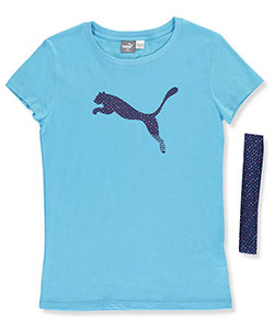 "Puma Big Girls' ""Metallic Striped"" T-Shirt & Headband Set (Sizes 7 – 16) - CookiesKids.com"