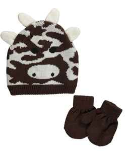 "Winter Warm-Up! Baby Girls' ""Cool Cow"" Beanie & Mittens Set - CookiesKids.com"