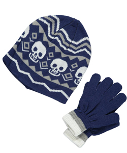 "Winter Warm-Up! ""Chevron Skulls"" Beanie and Gloves Set (Youth One Size) - CookiesKids.com"