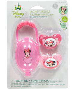 "Minnie Mouse ""Giggles"" 2-Pack Pacifiers with Case - CookiesKids.com"