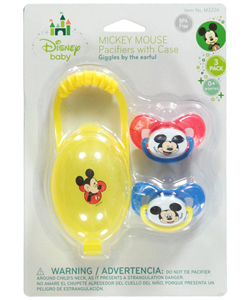 "Mickey Mouse ""Giggles"" 2-Pack Pacifiers with Case - CookiesKids.com"