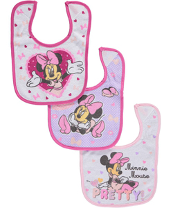 "Minnie Mouse ""Pretty!"" 3-Pack Bibs - CookiesKids.com"