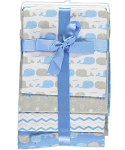 "Cribmates Baby Boys' ""Whale Pals"" 4-Pack Receiving Blankets - CookiesKids.com"