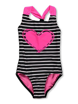 "Freestyle Revolution Little Girls' ""Have a Heart"" 1-Piece Swimsuit (Sizes 4 – 6X) - CookiesKids.com"