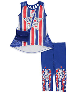 "RMLA Little Girls' ""Patriotic Glitter"" 2-Piece Outfit with Purse (Sizes 4 – 6X) - CookiesKids.com"