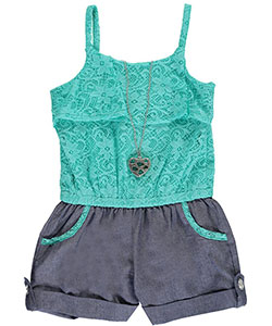 "RMLA Little Girls' ""Lacy Chambray"" Romper with Necklace (Sizes 4 – 6X) - CookiesKids.com"