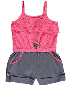 "RMLA Big Girls' ""Lacy Chambray"" Romper with Necklace (Sizes 7 – 16) - CookiesKids.com"