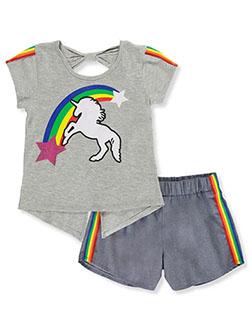 RMLA Girls Glitter Unicorn and Rainbows 2-Piece Shorts Set Outfit