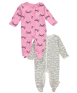 "Rosie Pope Baby Girls' ""Cats Galore"" 2-Pack Footed Coveralls - CookiesKids.com"
