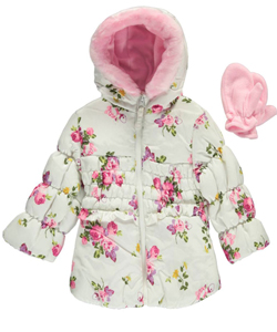 "Rothschild Baby Girls' ""Floral Splash"" Insulated Jacket - CookiesKids.com"