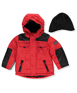 "Rothschild Little Boys' Toddler ""Tabbed 2-Tone"" Insulated Jacket with Hat (Sizes 2T – 4T) - CookiesKids.com"