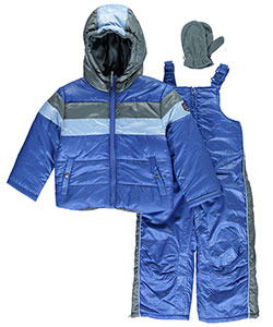 "Rothschild Little Boys' Toddler ""Piped Stripes"" 2-Piece Snowsuit with Mittens (Sizes 2T – 4T) - CookiesKids.com"