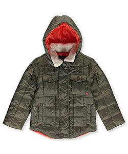 "Chaps Little Boys' ""Quilted Shirttail"" Hooded Jacket (Sizes 4 – 7) - CookiesKids.com"