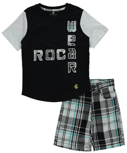 "Rocawear Little Boys' Toddler ""Plaid Logo Design"" 2-Piece Outfit (Sizes 2T – 4T) - CookiesKids.com"