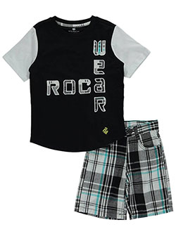 "Rocawear Little Boys' ""Plaid Logo Design"" 2-Piece Outfit (Sizes 4 – 7) - CookiesKids.com"