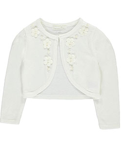 "Couture Princess Little Girls' Toddler ""Pearly Floral"" Shrug (Sizes 2T – 4T) - CookiesKids.com"