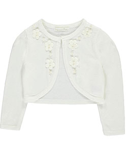 "Couture Princess Little Girls' ""Pearly Floral"" Shrug (Sizes 4 – 6X) - CookiesKids.com"