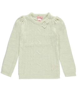 "Pink Angel Little Girls' Toddler ""Sparkled Cable"" Sweater (Sizes 2T – 4T) - CookiesKids.com"