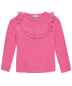 "Pink Angel Big Girls' ""Rounded Fringe"" Sweater (Sizes 7 – 16) - CookiesKids.com"