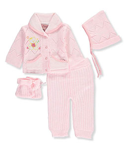 Little Beginnings Baby Girls' 4-Piece Knit Layette Set - CookiesKids.com