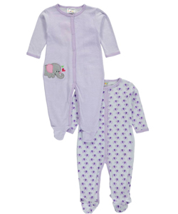 "Sweet & Soft Baby Girls' ""Loving Elephant"" 2-Pack Footed Coveralls - CookiesKids.com"