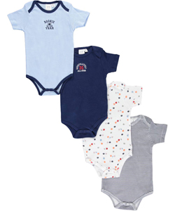"Sweet & Soft Baby Boys' ""Daddy's All-Star Rookie"" 4-Pack Bodysuits - CookiesKids.com"