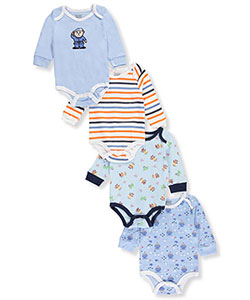 Quiltex Baby Boys' 4-Pack L/S Bodysuits - CookiesKids.com