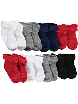 "Wee Tots Baby Boys' ""Turn Cuff Solid"" 8-Pack Crew Socks - CookiesKids.com"