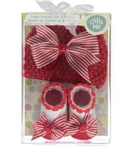 "Little Me Baby Girls' ""Striped Bow"" Novelty Headwrap & Booties - CookiesKids.com"