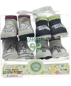 "Little Me Baby Boys' ""Zoo Party"" 4-Pack Booties - CookiesKids.com"