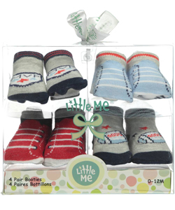 "Little Me Baby Boys' ""MVP Play"" 4-Pack Booties - CookiesKids.com"