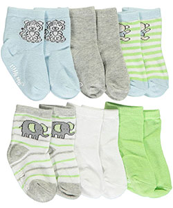 "Little Me Baby Boys' ""Jungle Family"" 6-Pack Crew Socks - CookiesKids.com"