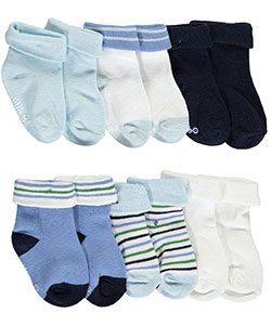 "Little Me Baby Boys' ""Striped Locomotive"" 6-Pack Socks - CookiesKids.com"